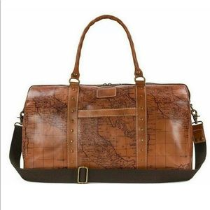 Patricia Nash Milano Map Print Leather Duffle Bag